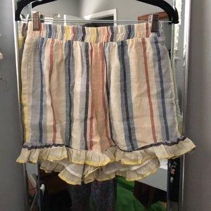 Stiped ruffled shorts
